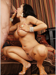 Milf slut with huge tits Jenna Presley is riding a big dagger