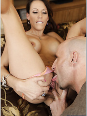 Perfect milf babe Layla Rivera is pleasing her man with a blowjob
