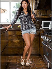 Asian milf London Keyes is riding big dagger of her man in the kitchen