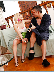 Milf blondie Ashley Fires is enjoying a warm facial from her man