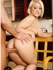 Milf slut with tiny tits Ash Hollywood is fucking hardcore in her kitchen
