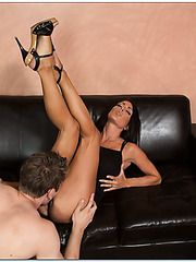 Hardcore sex with dark haired milf Jessica Jaymes and her man