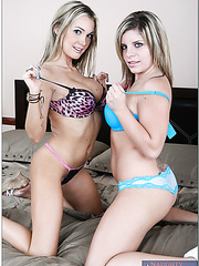 Lingerie models Devon and Nicole Banks taking part in a threesome