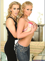 Shaved pussies of sexy lingerie models Phoenix Marie and Tanya Tate are licked out