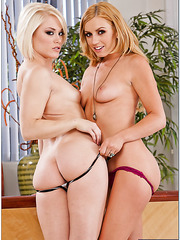 Blowjob done by two beautiful porn models Ash HollyWood and Lexi Belle