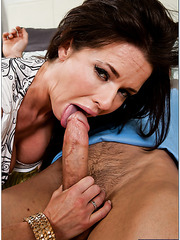 Brunette milfs India Summer and Veronica Avluv sucking cock in sexy lingerie