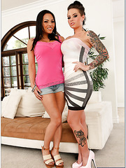 Short haired Asian milf Adrianna Luna fucking with Christy Mack