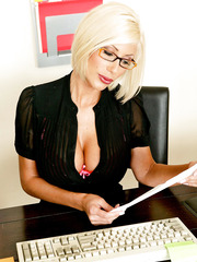 Lesbian office milfs Avy Scott and Puma Swede are playing with toys