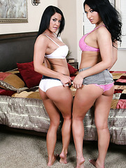 Black haired mistresses Kitty Bella and Savannah Stern playing exciting games