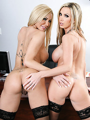 Astonishing blondes with big melons Lexi Tyler and Nikki Benz in the office