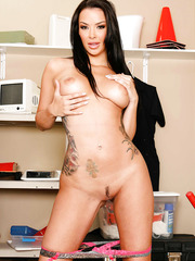 Perfect brunette bombshell with long legs and big tits Sophia Santi poses naked