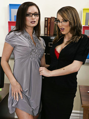 Milf lesbians Charlie Laine and Tereza Ilova take off their glasses for a hot action