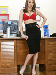 Sexy office lady Charlie Laine makes us wild with her red lingerie and nice body