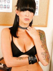 Energizing and seductive tattooed brunette milf Presley Maddox strip in the office