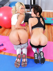 Two playful lesbian milfs Ayden Ashley and Jazy Berlin stripping in the gym