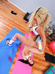 Lesbian milfs Ayden Ashley and Jazy Berlin have a hot rest after training in the gym
