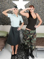 Naughty lesbians Ashley Steel and Veronica Ricci don't need boys in the army