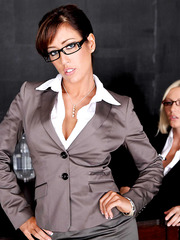Lesbian business ladies Capri Cavanni and Noelle Aurelia getting pleasure together