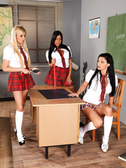 Hottest schoolgirls Aletta Ocean, Angelica Heart and Donna Bell remain alone on the classroom