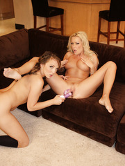 Beautiful lesbian milfs Charlie Laine and Diana Doll eating hot pie and licking pussies