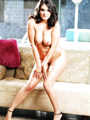 Beautiful brunette babe Charley Chase with big natural boobs and trimmed pussy