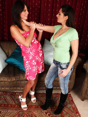 Delightful lesbian scene with hot milfs Allison Star and Melanie Memphis
