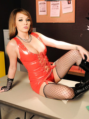 Slutty bad girl in fishnet stockings Charlie Laine strips at the police station