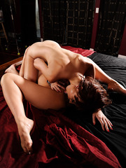 Asian brunette babe Asa Akira has sweet time with redhead milf Zoe Voss