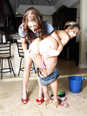 Sexy babe Carolyn Reese and Eve Laurence play with each other's sweet pussies