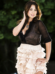 Naughty and pretty Asian brunette Mai Ly demonstrates a hot outdoor scene