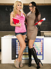 Alicia Secrets and Kirsten Price celebrating hot holidays in the classroom