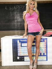 Awesome babe Alicia Secrets has a lot of courage to show her big tits in the classroom