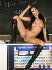 Super sexy brunette teacher Kirsten Price shows trimmed pussy in the classroom
