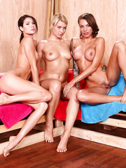 Lesbian threesome in the sauna by Anikka Albrite, Jenni Lee and Juelz Ventura