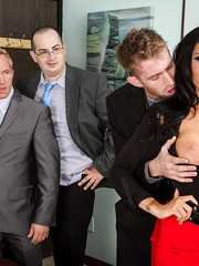 Sparkling MILF Romi Rain enjoying a big fat sausage of her boss today