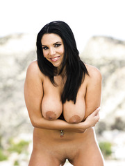 Extra hot MILF Missy Martinez with big tits posing outdoors on fresh air