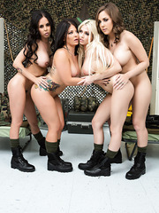 Dazzling army lesbians MILFs with Brandy Aniston having some fun at camp