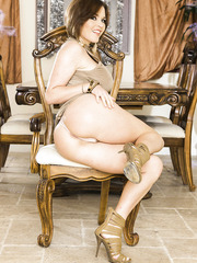 Glamorous babe Krissy Lynn showing her big tits and spreading her legs