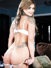 Exceptional babe Chloe Chaos with her lovely stockings posing for camera