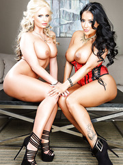 Two busty and naughty lesbian MILF's Kiara Mia and Phoenix Marie having some fun