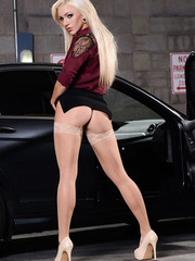 Astonishing blonde babe Cameron Dee showing her sexy lingerie near a car