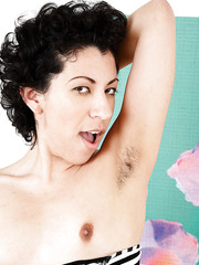 Hairy MILF Kinky Gaga showing her twat and her lovely boobs naked