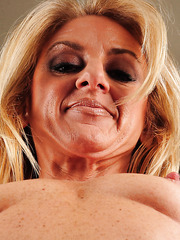 Blonde MILF Ava showing her wet pussy and her desire to fuck hard
