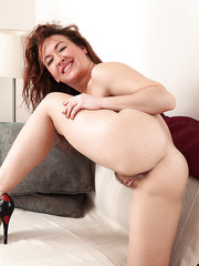 Lovely MILF Elizabeth taking her time and playing with her hairy cunt