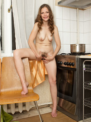 Arresting housewife Rose showing her hairy pussy and her old saggy tits