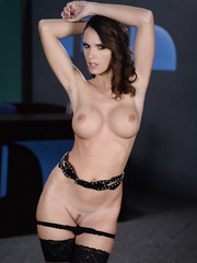 Naughty brunette MILF Jennifer Dark  revealing her big tits and ass