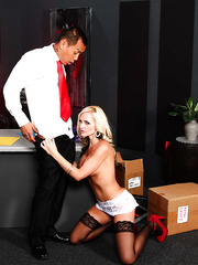 Erotic and lovely blonde MILF Alena Croft enjoys riding a hard cock