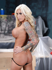 Bewitching babe Lolly Ink with her huge breasts spreading her sexy legs