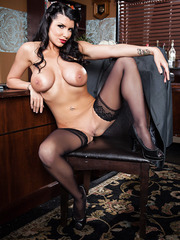 Classy and delicious babe Romi Rain showing her big tits and her ass