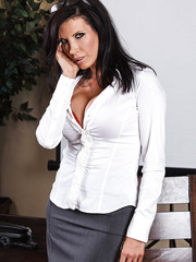 Alluring milf with big tits Shay Sights takes off her white blouse so erotic